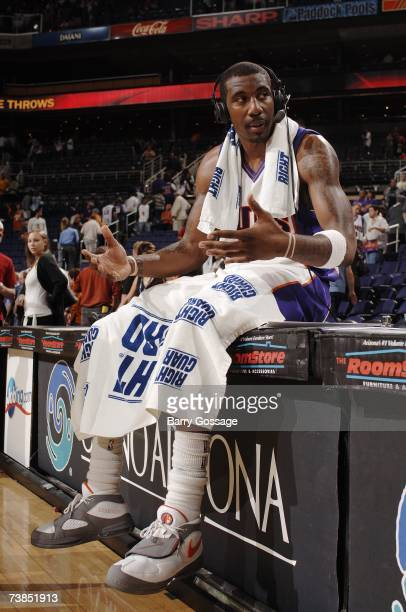 Amare Stoudemire of the Phoenix Suns gets interviewed following the game against the Sacramento Kings at US Airways Center on March 22 2007 in...