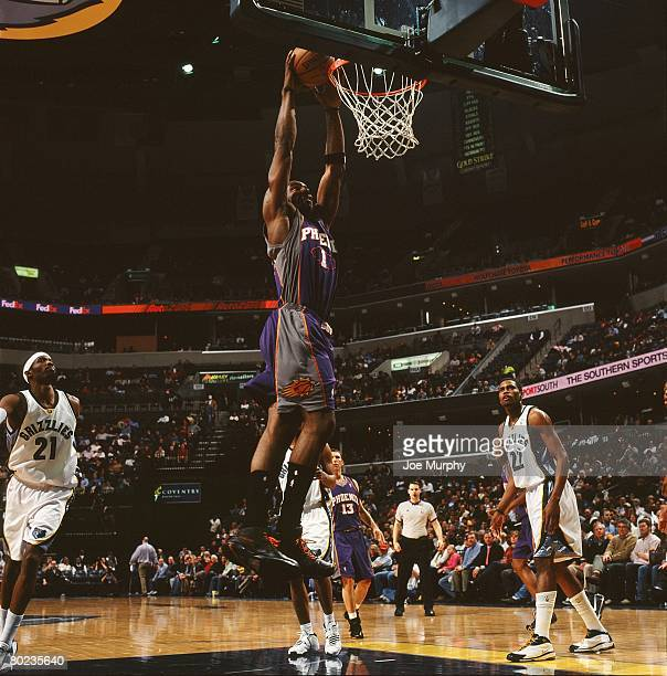 Amare Stoudemire of the Phoenix Suns goes for a dunk against the Memphis Grizzlies during the game at FedExForum on February 26 2008 in Memphis...