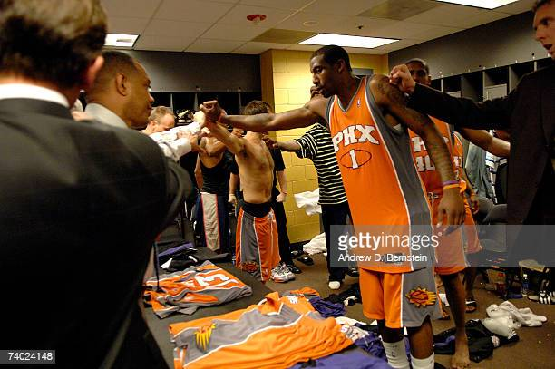Amar'e Stoudemire of the Phoenix Suns huddles with his teammates after the win against the Los Angeles Lakers in Game Four of the Western Conference...