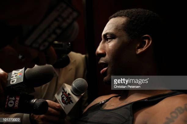 Amar'e Stoudemire of the Phoenix Suns is interviewed in the locker room after the suns were eliminated from the 2010 NBA Playoffs by the Los Angeles...