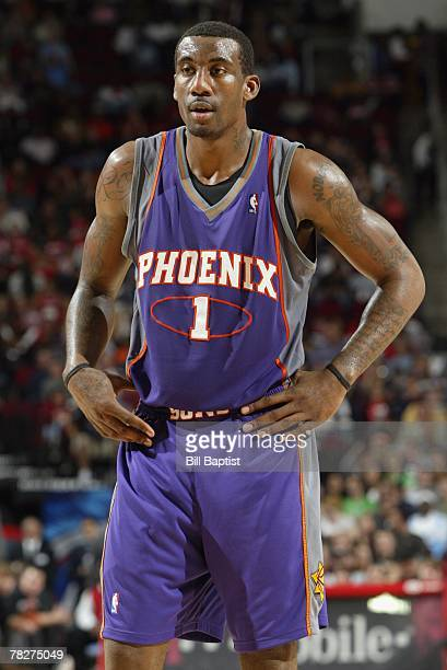 Amare Stoudemire of the Phoenix Suns looks on during the game against the Houston Rockets at the Toyota Center on November 17 2007 in Houston Texas...