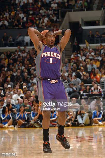 Amare Stoudemire of the Phoenix Suns looks to pass against the Los Angeles Lakers during the game at Staples Center on April 8 2007 in Los Angeles...