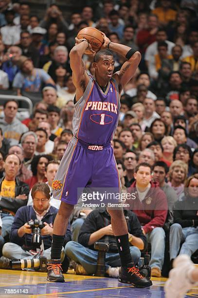 Amare Stoudemire of the Phoenix Suns looks to pass the ball against the Los Angeles Lakers during their NBA game at Staples Center on December 25...