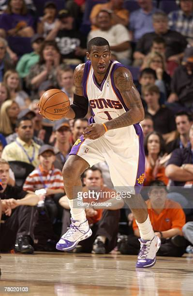 Amare Stoudemire of the Phoenix Suns moves the ball against the New York Knicks during the game on November 13 2007 at US Airways Center in Phoenix...