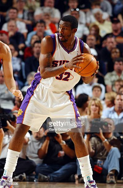 Amare Stoudemire of the Phoenix Suns plays during the second quarter against the Portland Trail Blazers on March 23 2006 at US Airways Center in...