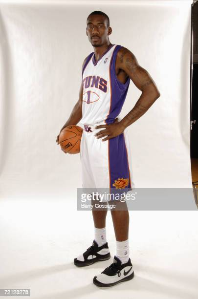 Amare Stoudemire of the Phoenix Suns poses for a photo during Media Day at U.S. Airways Center on September 29, 2006 in Phoenix, Arizona. NOTE TO...