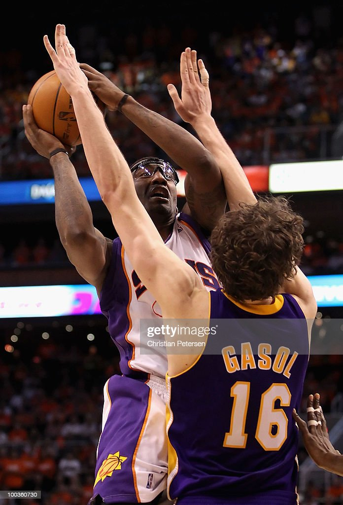 Amar'e Stoudemire #1 of the Phoenix Suns puts up a shot against Pau Gasol #16 of the Los Angeles Lakers during Game Three of the Western Conference finals of the 2010 NBA Playoffs at US Airways Center on May 23, 2010 in Phoenix, Arizona. The Suns defeated the Lakers 118-109.