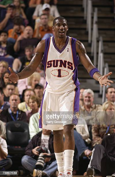 Amare Stoudemire of the Phoenix Suns reacts during the game against the Memphis Grizzlies at US Airways Center on March 26 2007 in Phoenix Arizona...