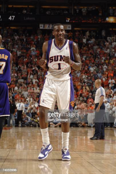Amare Stoudemire of the Phoenix Suns reacts in Game Two of the Western Conference Quarterfinals against the Los Angeles Lakers during the 2007 NBA...