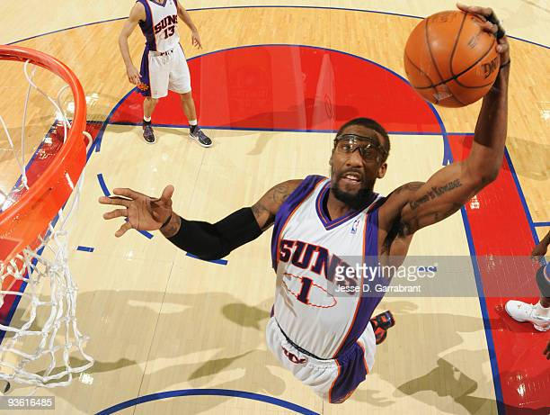 Amar'e Stoudemire of the Phoenix Suns rebounds against the Cleveland Cavaliers during the game on December 2 2009 at the Quicken Loans Arena in...