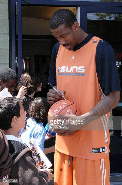 Amare Stoudemire of the Phoenix Suns signs autographs after practice at Crossroads High School on April 28 2007 in Santa Monica California NOTE TO...