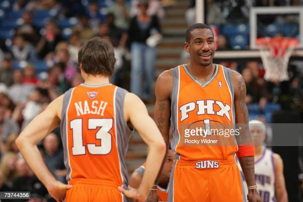 Amare Stoudemire of the Phoenix Suns walks towards teammate Steve Nash during the game against the Sacramento Kings at Arco Arena on March 25 2007 in...