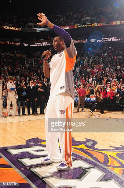 Amare Stoudemire of the Phoenix Suns wishes everyone a Merry Christmas as the Suns host the San Antonio Spurs on December 25 at US Airway Center in...