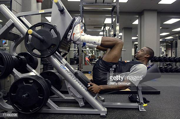 Amare Stoudemire of The Phoenix Suns worksout during the broadcast of NBA TV today behindthescenes at Phoenix Suns practice at US Airways Center on...