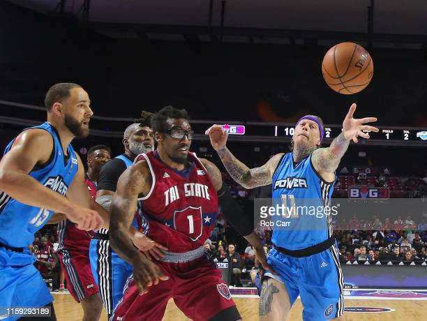 Amar'e Stoudemire of the Tri State rebounds against Michael Thompson Cuttino Mobley and Chris Andersen of the Power during week two of the BIG3 three...