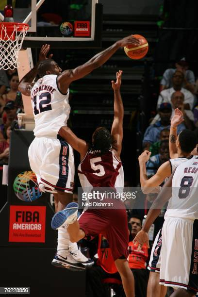 Amare Stoudemire of the USA Men's Senior National Team blocks a shot against Axiers Sucre of Venezuela during the first round of the 2007 FIBA...