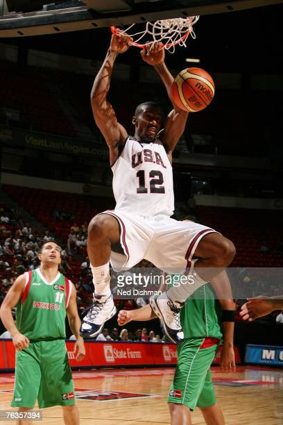 Amare Stoudemire of the USA Men's Senior National Team dunks against Mexico during the second round of the 2007 FIBA Americas Championship at the...