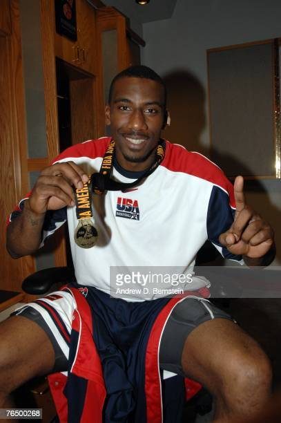 Amare Stoudemire of the USA Men's Senior National Team shows off his medal after the medal ceremony after defeating Argentina during the gold medal...