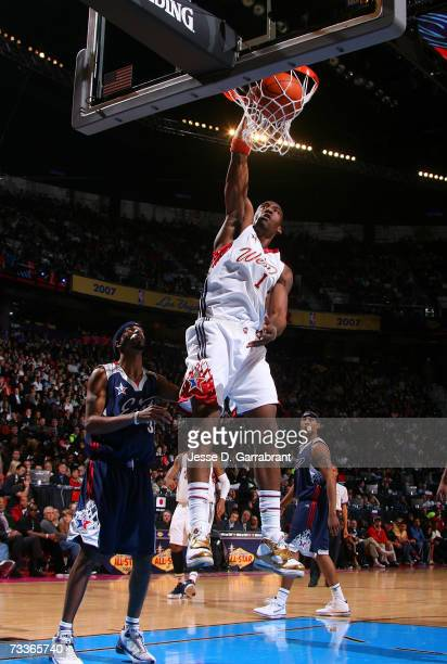 Amare Stoudemire of the Western Conference dunks against the Eastern Conference during the 2007 NBA AllStar Game on February 18 2007 at the Thomas...