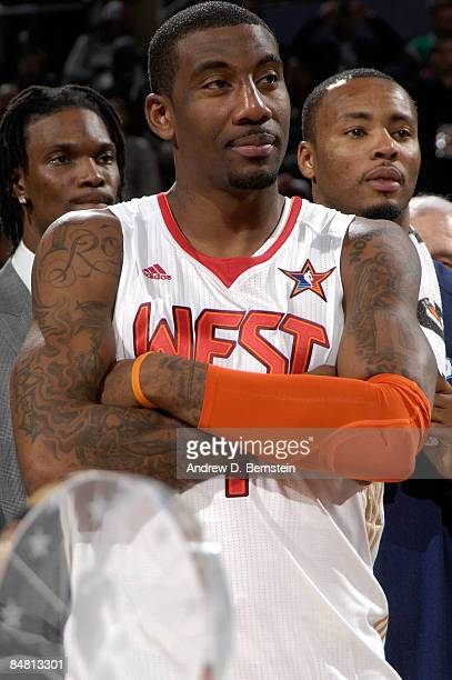 Amare Stoudemire of the Western Conference looks on after the 58th NBA AllStar Game part of 2009 NBA AllStar Weekend at US Airways Center on February...
