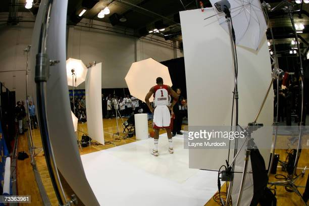 Amare Stoudemire of the Western Conference poses for a portrait prior to the 2007 NBA AllStar Game on February 18 2007 at the Thomas Mack Center in...