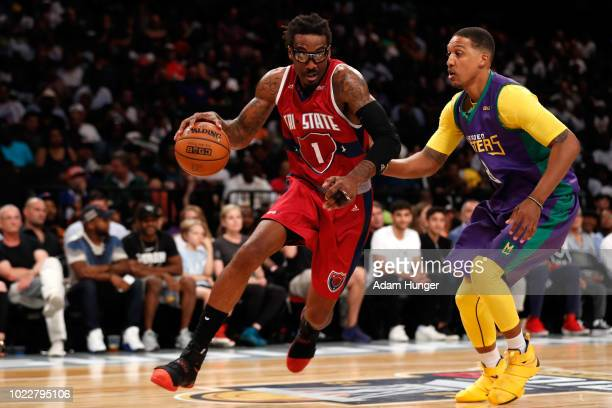 Amar'e Stoudemire of Tri State handles the ball against Jamario Moon of the 3 Headed Monsters in the third place game during the BIG3 Championship at...
