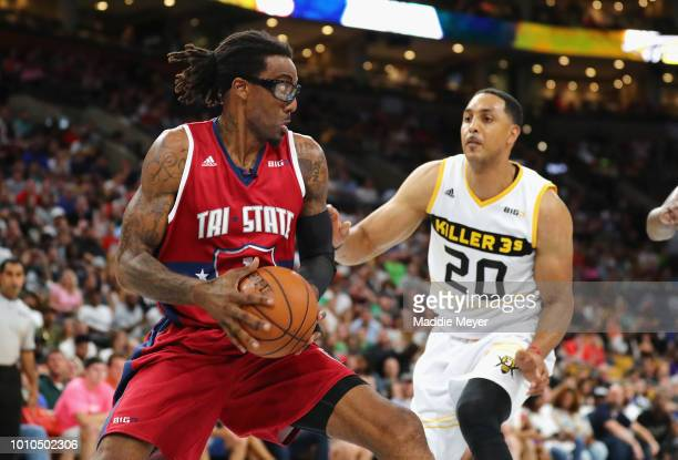 Amar'e Stoudemire of Tri State handles the ball against Ryan Hollins of Killer 3s during week seven of the BIG3 three on three basketball league at...