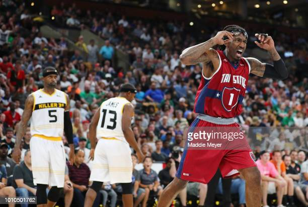 Amar'e Stoudemire of Tri State reacts against Killer 3s during week seven of the BIG3 three on three basketball league at TD Garden on August 3 2018...