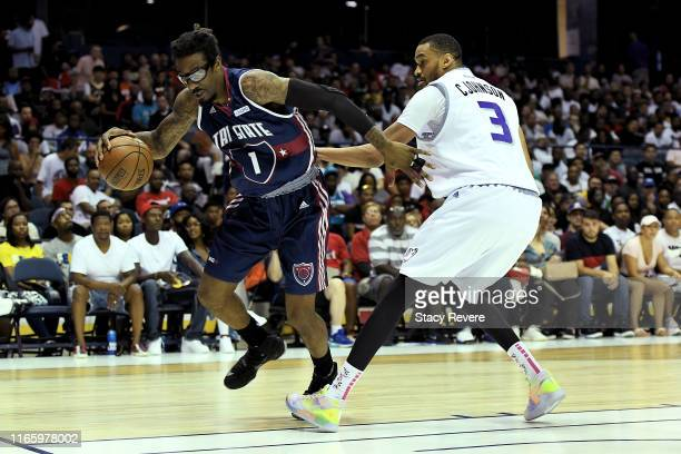 Amar'e Stoudemire of Tri-State dribbles the ball while being guarded by Chris Johnson of the Ghost Ballers in the second half during week seven of...