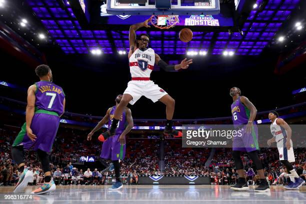 Amar'e Stoudemire of TriState dunks the ball during the game against the 3 Headed Monsters during BIG3 Week Four at Little Caesars Arena on July 13...
