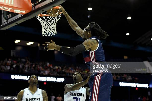 Amar'e Stoudemire of Tri-State dunks the ball in the first half against the Ghost Ballers during week seven of the BIG3 three on three basketball...