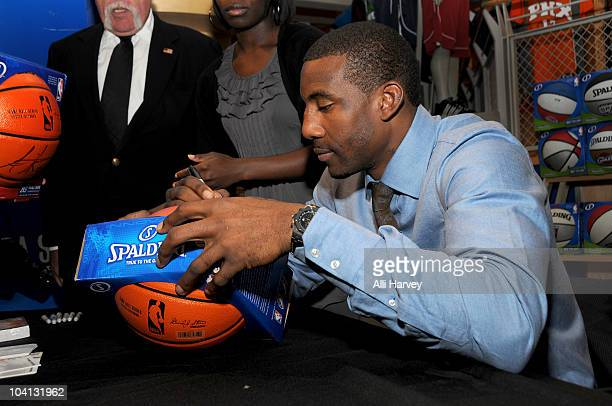 62d9a0466 Amar e Stoudemire signs a basketball at the NBA Store on September 15 2010  in