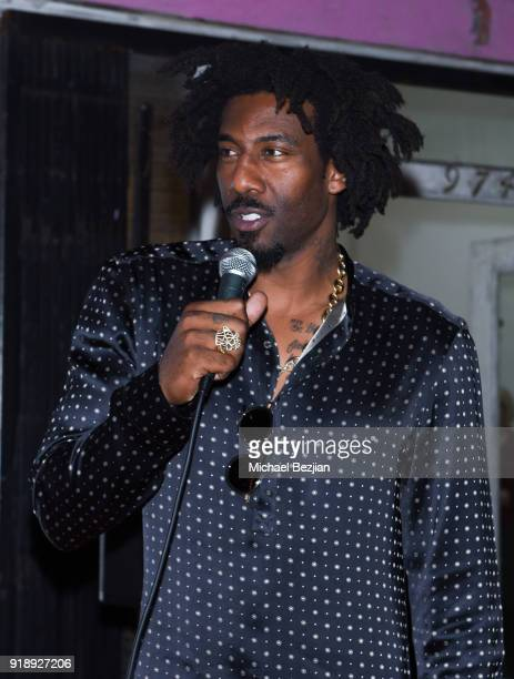 Amare Stoudemire speaks at Amare Stoudemire hosts ART OF THE GAME art show presented by Sotheby's and Joseph Gross Gallery on February 15 2018 in Los...