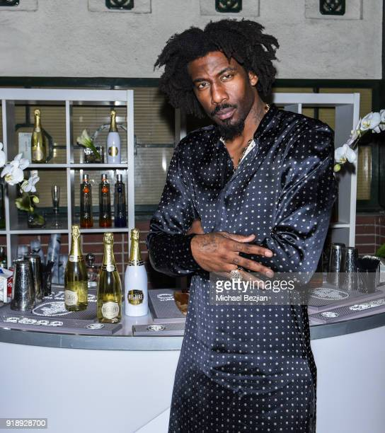 Amare Stoudemire with Belaire at Amare Stoudemire hosts ART OF THE GAME art show presented by Sotheby's and Joseph Gross Gallery on February 15 2018...