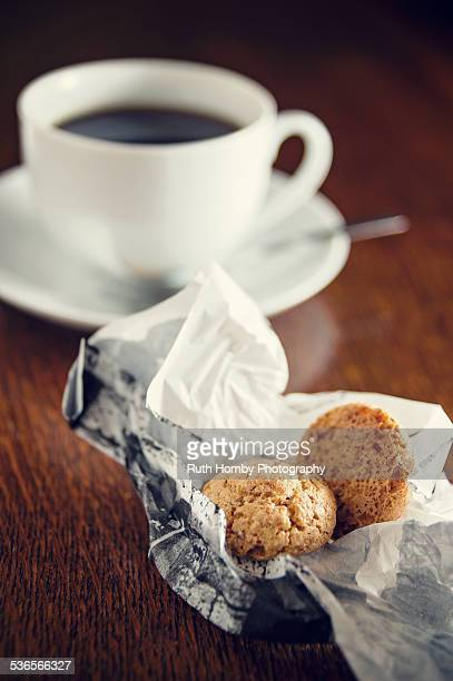 Amaretto Biscuits and Cup of Coffee