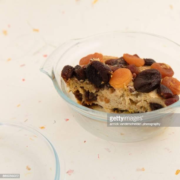 Amaretto raisin bread pudding.