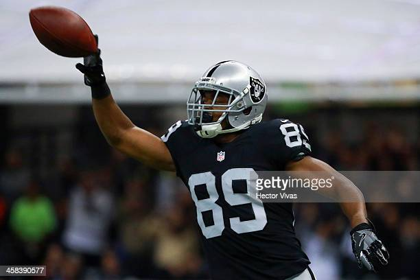 Amari Cooper of Oakland Raiders celebrates after a touchdown during the NFL football game between Houston Texans and Oakland Raiders at Azteca...