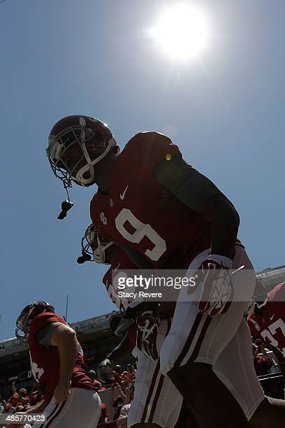 Amari Cooper of the Crimson team takes the field for the University of Alabama ADay spring game at BryantDenny Stadium on April 19 2014 in Tuscaloosa...