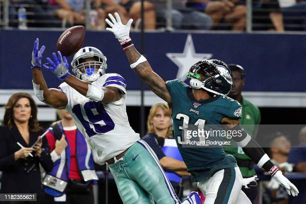 Amari Cooper of the Dallas Cowboys catches a pass against Jalen Mills of the Philadelphia Eagles in the the fourth quarter at ATT Stadium on October...