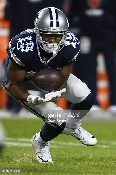 Amari Cooper of the Dallas Cowboys catches a pass during a game against the Chicago Bears at Soldier Field on December 05 2019 in Chicago Illinois...