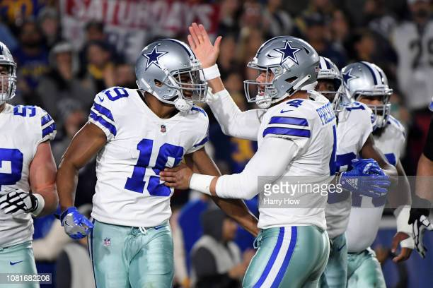 Amari Cooper of the Dallas Cowboys celebrates a 29 yard touchdown pass from Dak Prescott in the first quarter against the Los Angeles Rams in the NFC...