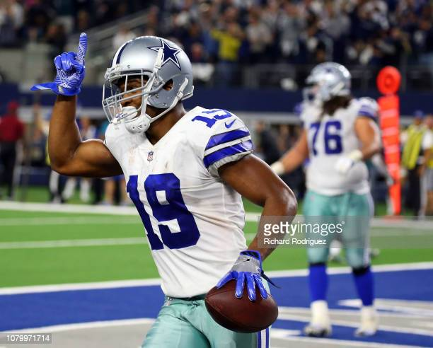 Amari Cooper of the Dallas Cowboys celebrates after making the game winning touchdown in overtime against the Philadelphia Eagles at ATT Stadium on...