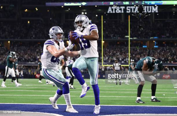 Amari Cooper of the Dallas Cowboys celebrates with Blake Jarwin after a touchdown against the Philadelphia Eagles in overtime for a 2923 win at ATT...