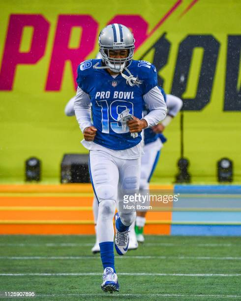 Amari Cooper of the Dallas Cowboys gets introduced before the 2019 NFL Pro Bowl at Camping World Stadium on January 27 2019 in Orlando Florida
