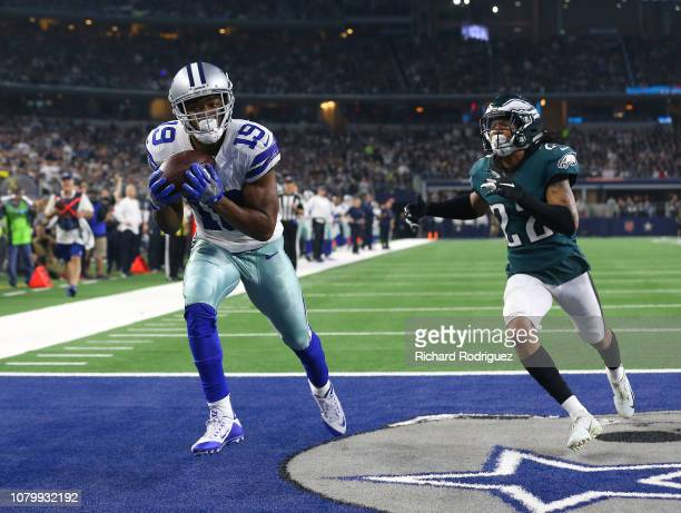 Amari Cooper of the Dallas Cowboys makes a touchdown reception against Sidney Jones of the Philadelphia Eagles at ATT Stadium on December 09 2018 in...