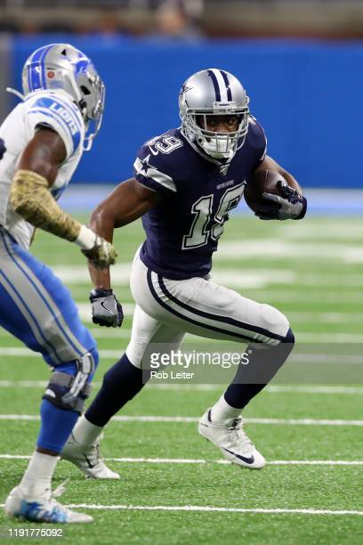 Amari Cooper of the Dallas Cowboys runs after the catch during the game against the Detroit Lions at Ford Field on November 17 2019 in Detroit...
