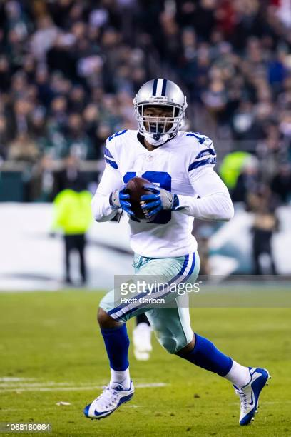Amari Cooper of the Dallas Cowboys runs with the ball during the fourth quarter against the Philadelphia Eagles at Lincoln Financial Field on...