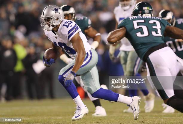 Amari Cooper of the Dallas Cowboys runs with the ball during the second half against the Philadelphia Eagles in the game at Lincoln Financial Field...