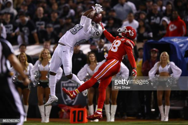 Amari Cooper of the Oakland Raiders is unable to make a catch against the Kansas City Chiefs during their NFL game at OaklandAlameda County Coliseum...