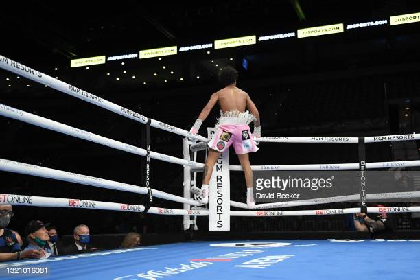 Amari Jones reacts after defeating Jonathan Burrs in a first round TKO during their super welter weight bout at Michelob ULTRA Arena on May 29, 2021...